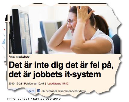 Det är inte dig det är fel på - rubrik på Aftonbladets/E24:s artikel