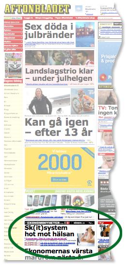 """Aftonbladet.se har """"Skitsystem"""" på förstasidan"""