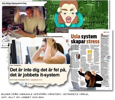 """Fyra tidningars illustrationer till artiklar om """"Jävla skitsystem!"""" - alla visar en upprörd person framför en skärm"""