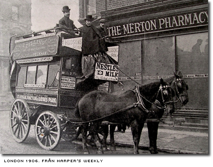 Hästdragen buss i London cirka 1905, från Harper's Weekly