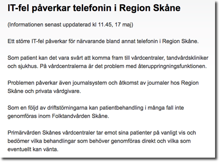 Region Skånes webbsida kl 11 - rapporterar om stora problem
