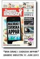 Dagens Industris förstasida 11 juni - 'Bra drag i svenska appar'