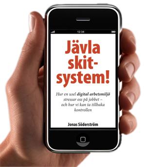 Bild på bokens omslag på en mobiltelefon-skärm