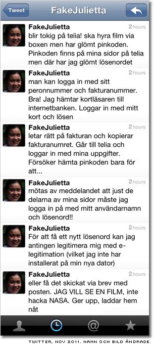Twitteranvändaren FakeJulietta kämpar mot lager efter lager av lösenordsproblem