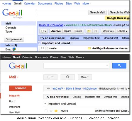Gmails gamla och nya utseende