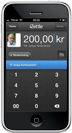 bild på izettle-applikationen på en mobiltelefons skärm