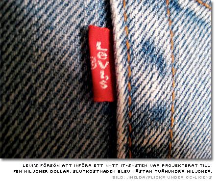 Bild av ett par Levi's-jeans. Levi's försök att införa ett nytt it-system var projekterat till fem miljoner dollar. Slutkostnaden blev nästan tvåhundra miljoner