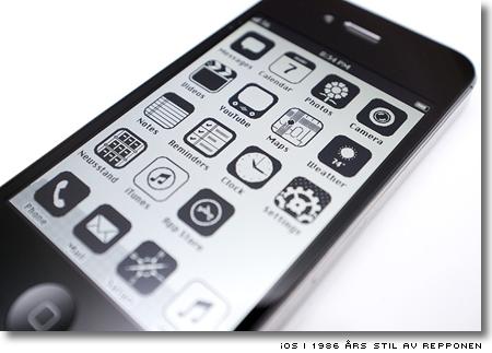 iPhone med svartvita ikoner i stil som Mac 1986