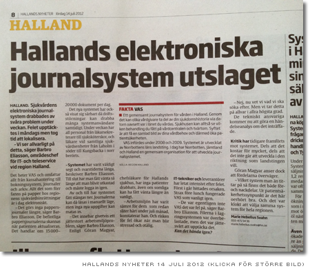 Hallands elektroniska journalsystem utslaget