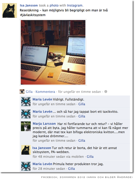 Konversation på Facebook, syntolk nedan