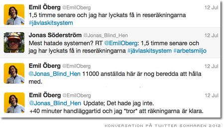 Twitterkonversation om reseräkningsystem