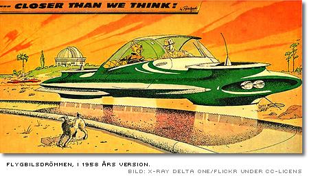 Flygande bil i tidningsillustration från 1958, med texten 'sooner than we think'