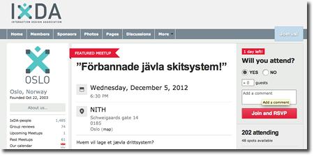 Notering om föreläsning för interaktionsdesigners i Oslo