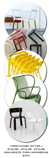 fem olika sittmöbler är nominerade för det svenska designpriset - därmed den vanligaste produkten