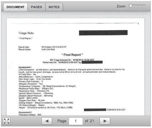bild på fallets medicinska  dokumentation