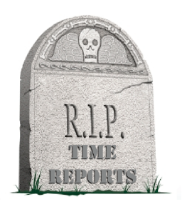 gravsten med texten RIP Time reports