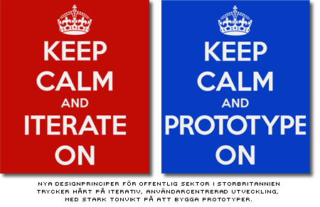 affischer med texten 'keep calm and iterate and prototype'