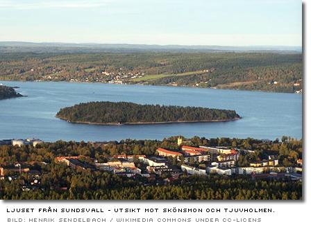 ljuset från sundsvall - utsikt mot skönsmon och tjuvholmen