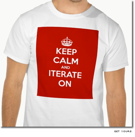 t-tröja med texten keep calm and iterate on