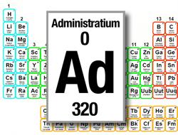 Bild av det periodiska systemet med det fiktiva ämnet Administratium infogat