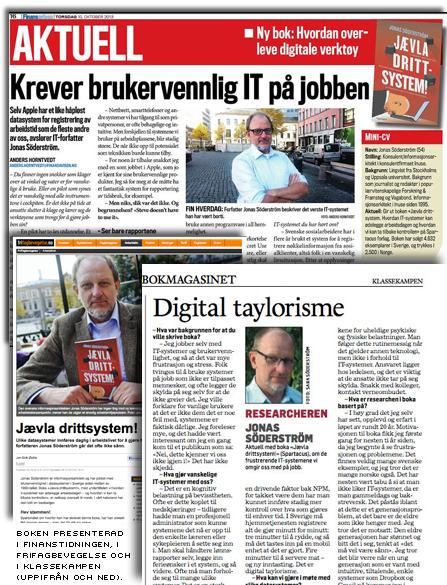 collage av artiklar om jævla drittsystem från Finanstidningen, Fri Fagbevegelse och Klassekampen.