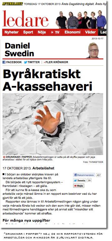 aftonbladets ledare med rubriken byråkratiskt a-kassehaveri och en bild av en person begravd i pappersblanketter
