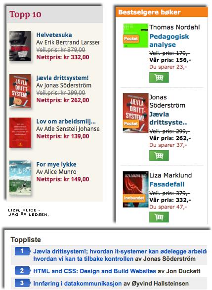 boken som nummer ett, två eller tre på olika norska topplistor