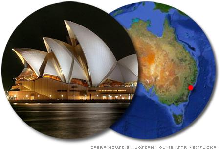 karta över australien med sydney utmärkt, och bild på Sydneys beröma operahus