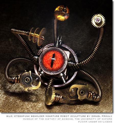 Steampunk Beholder Miniature robot sculpture by Daniel Proulx, Canada