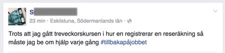 FBpost om svårigheten att registrera reseräkning