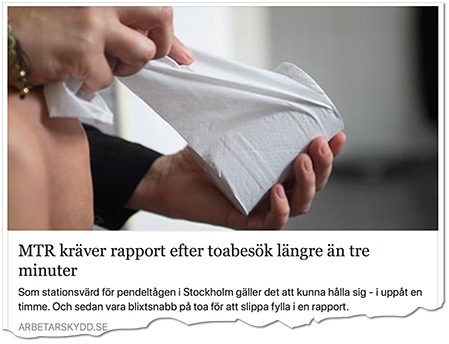 mer kräver rapport efter toabesök längre än tre minuter