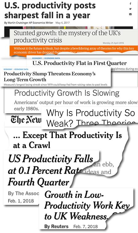 tidningsrubriker om minskad produktivitetstillväxt