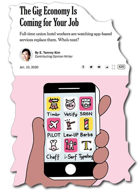 en tecknad mobiltelefon fylld med fiktiva jobb-appar