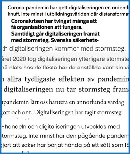 en rad texter som talar om digitalisering med stormsteg på grund av pandemin