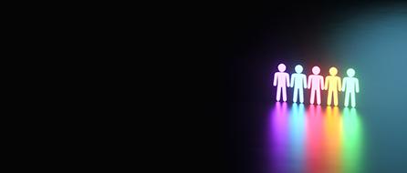 isolerade människofigurer i en svart rymd