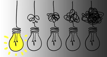 serie av glödlampor med gradvis allt mer tilltrasslade sladdar, som inte lyser